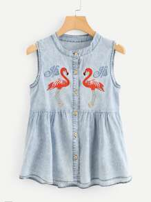 Flamingo Embroidered Denim Tank Top