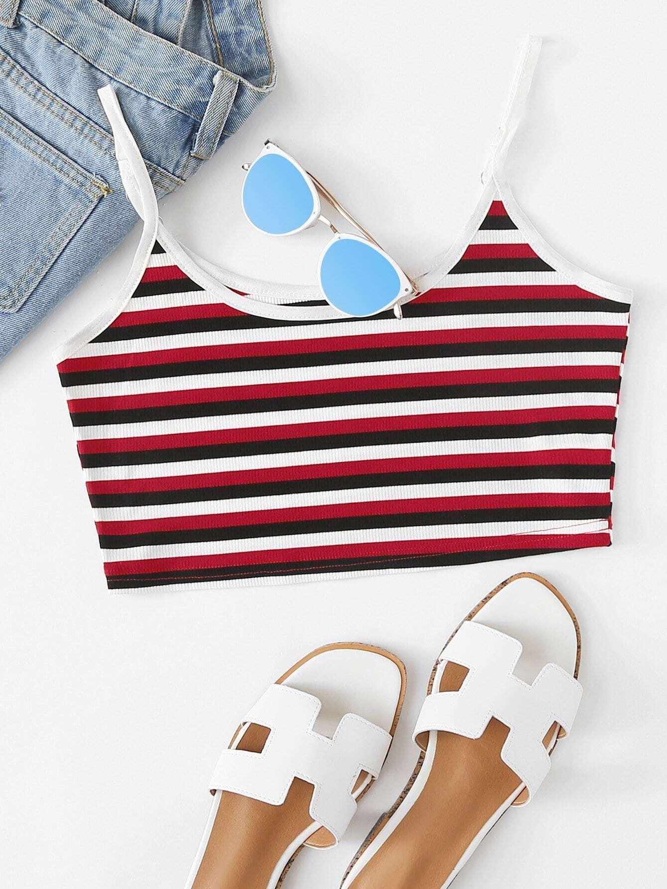 Rib Knit Striped Crop Cami Top vest180328450