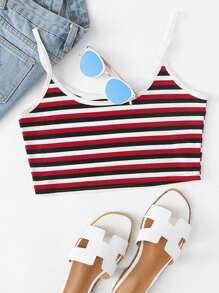Rib Knit Striped Crop Cami Top