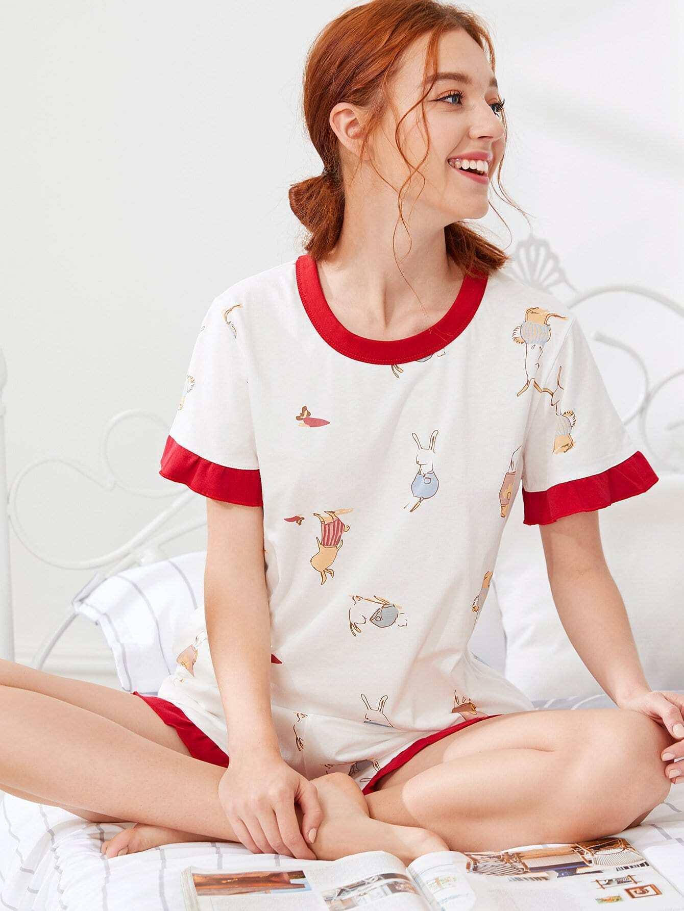 Contrast Trim Cartoon Print Pajama Set cartoon print frill trim cami pajama set