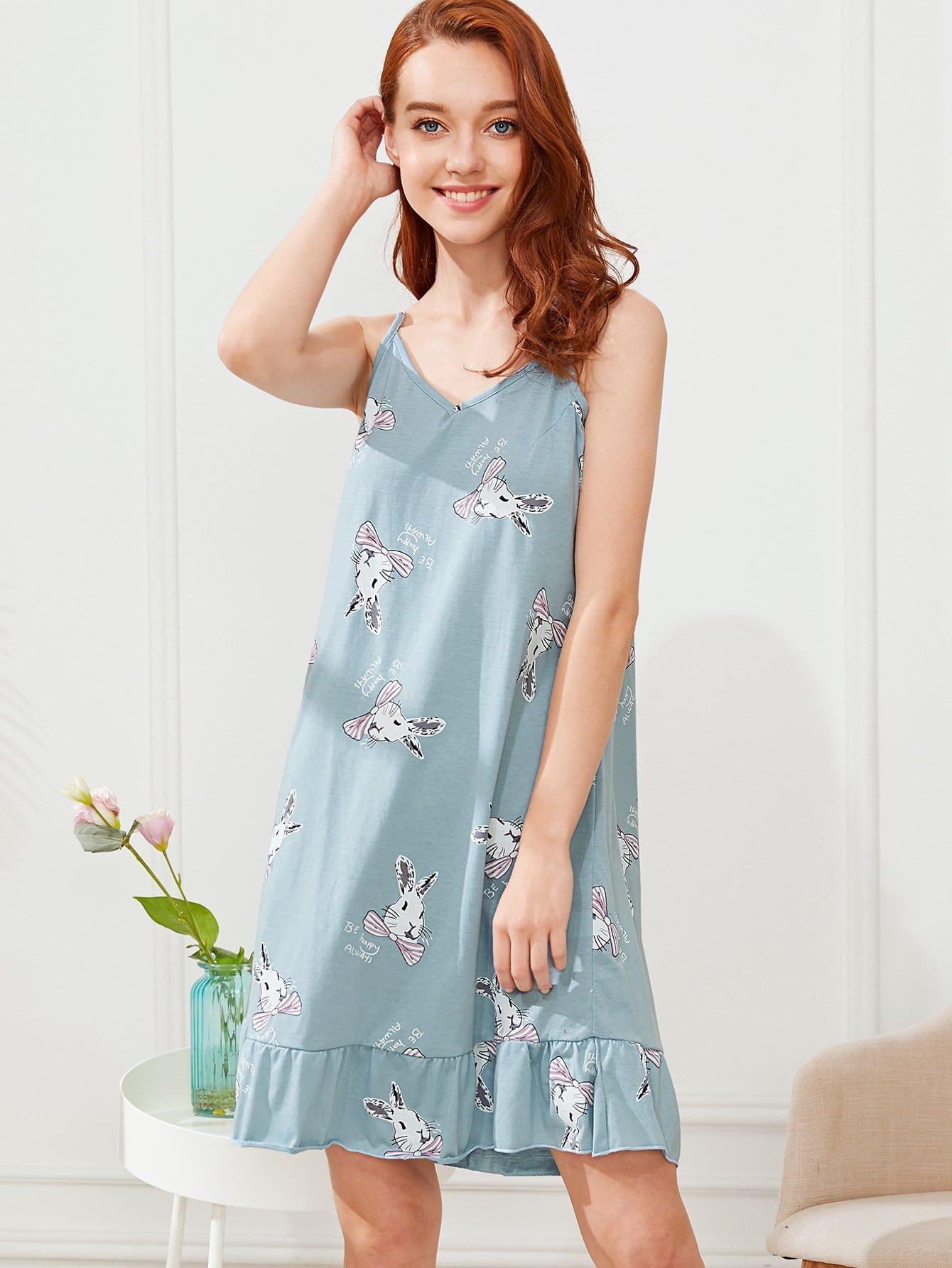 Rabbit Print Ruffle Hem Cami Dress