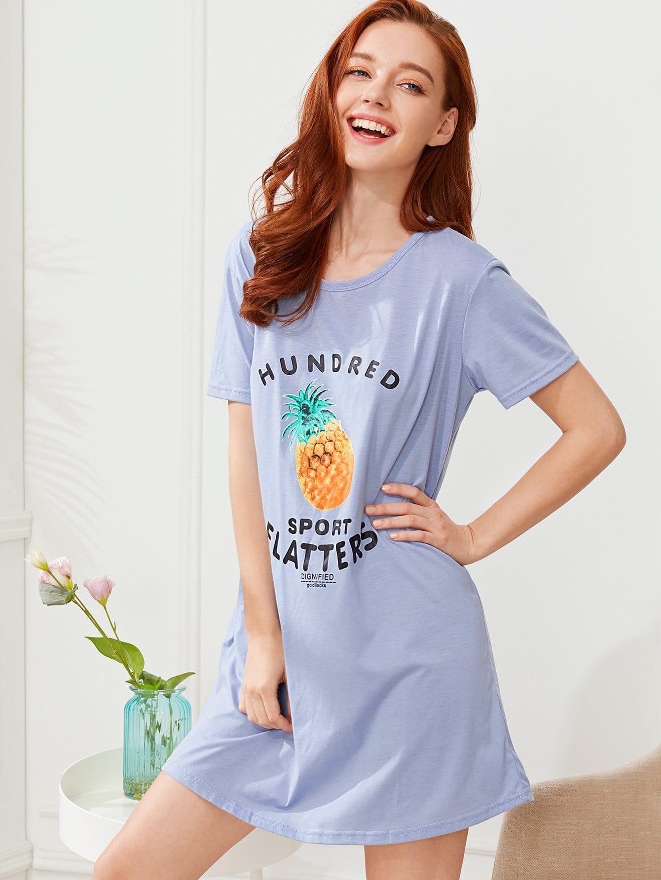Pineapple Print Nightdress