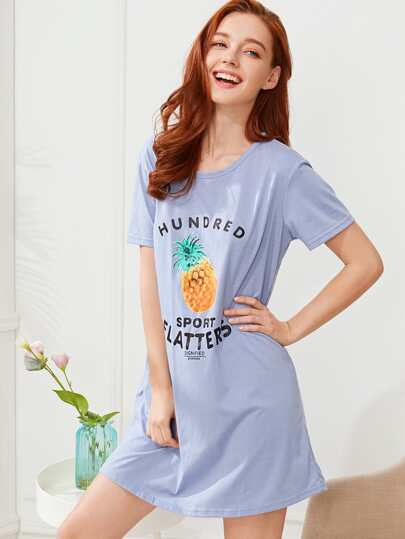 Pineapple Print Nightdress