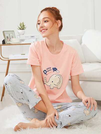 Elephant Print Tee & Pants PJ Set