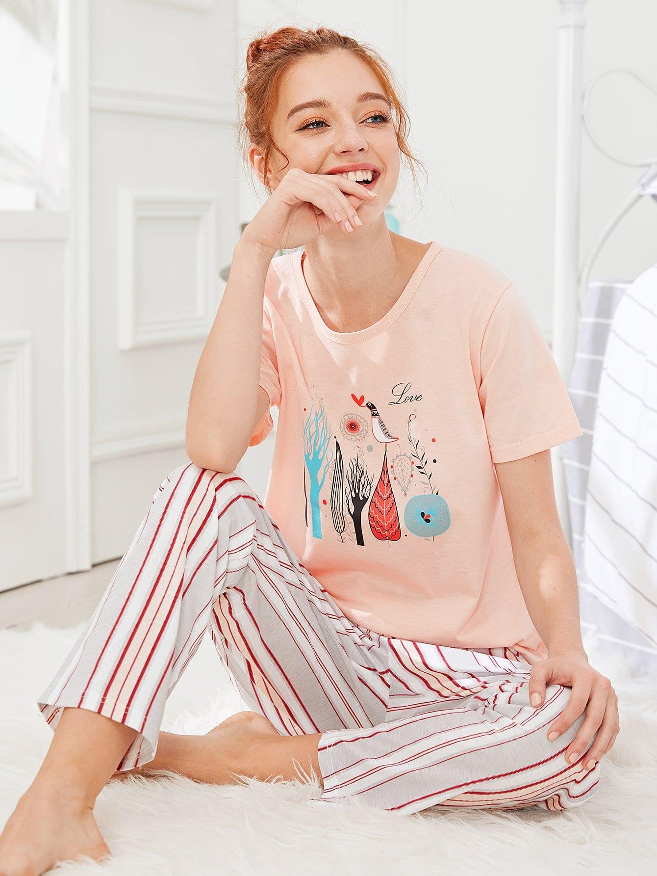 Cartoon Print Tee & Striped Pants PJ Set
