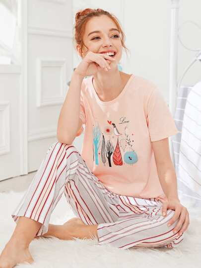 Cartoon Print Tee & Striped Pants PJ Set