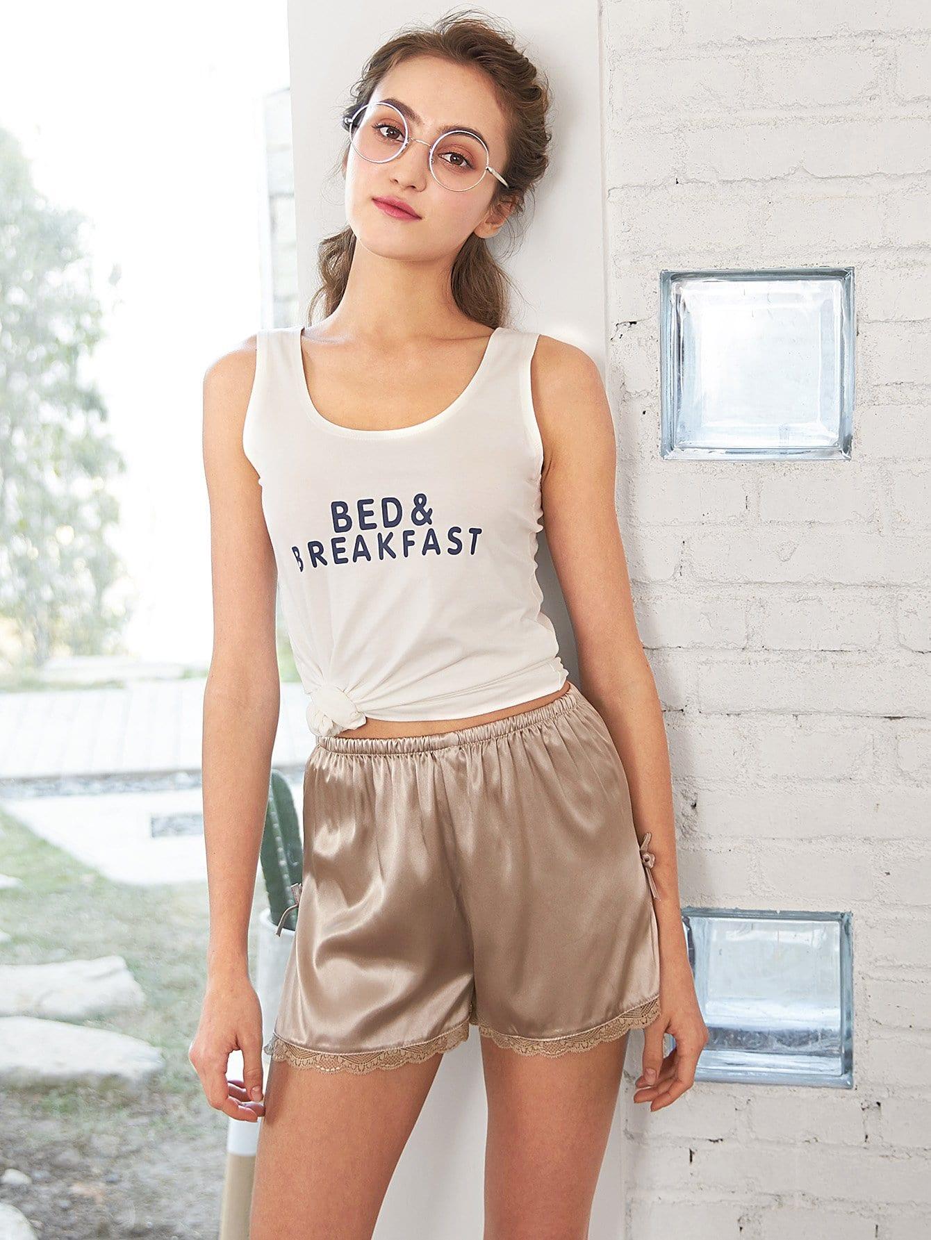Lace Hem Split Side Shorts
