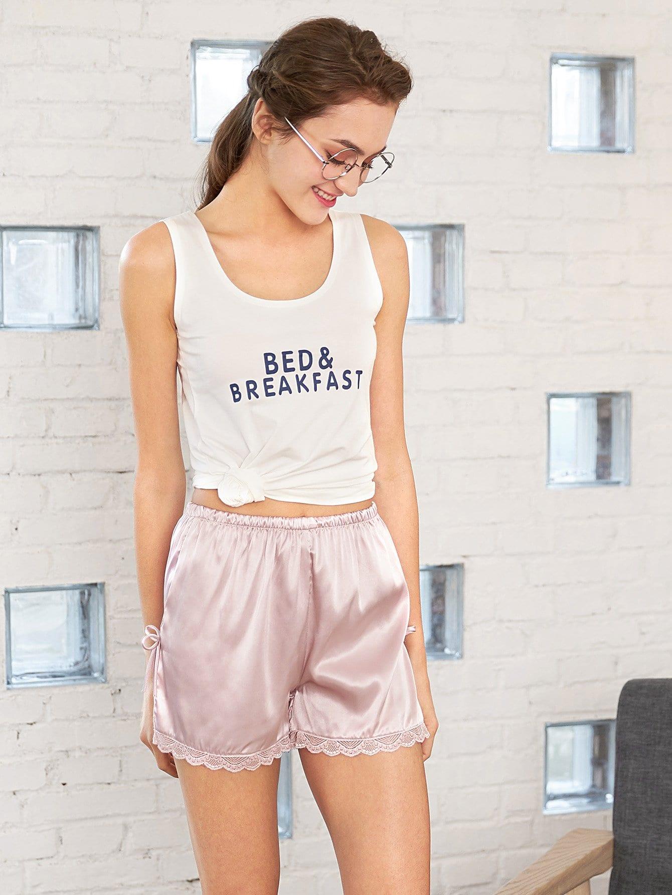Lace Hem Split Side Shorts lace hem shorts