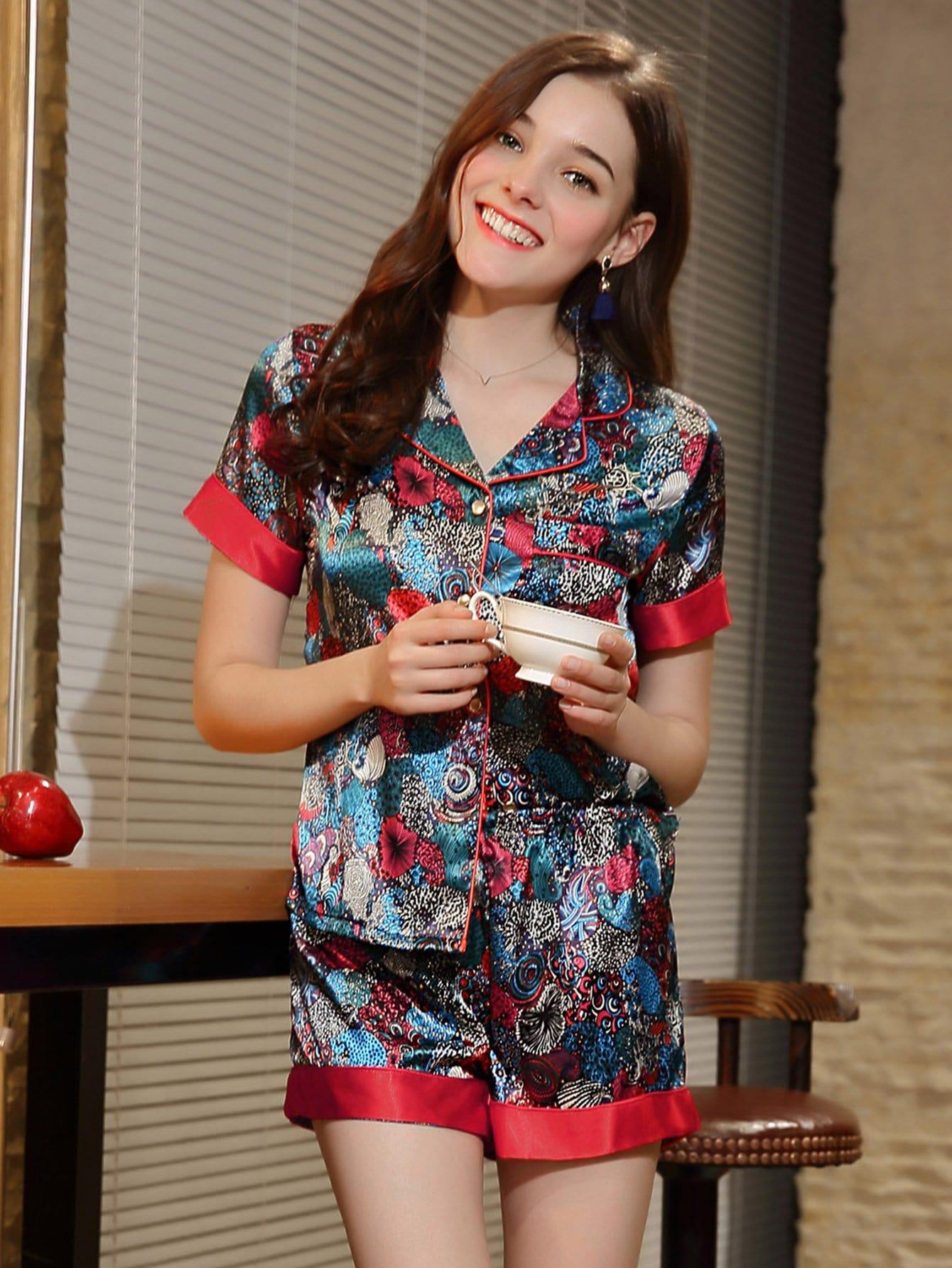 Contrast Trim Floral Print Shirt & Shorts PJ Set