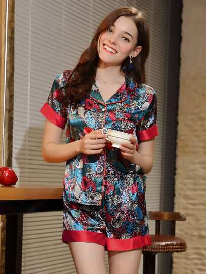 Contrast Trim Floral Print Shirt & Shorts PJ Set
