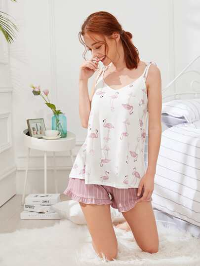 Flamingo Print Cami Top & Shorts PJ Set
