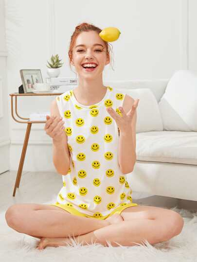 Smile Face Print Top & Shorts Set PJ