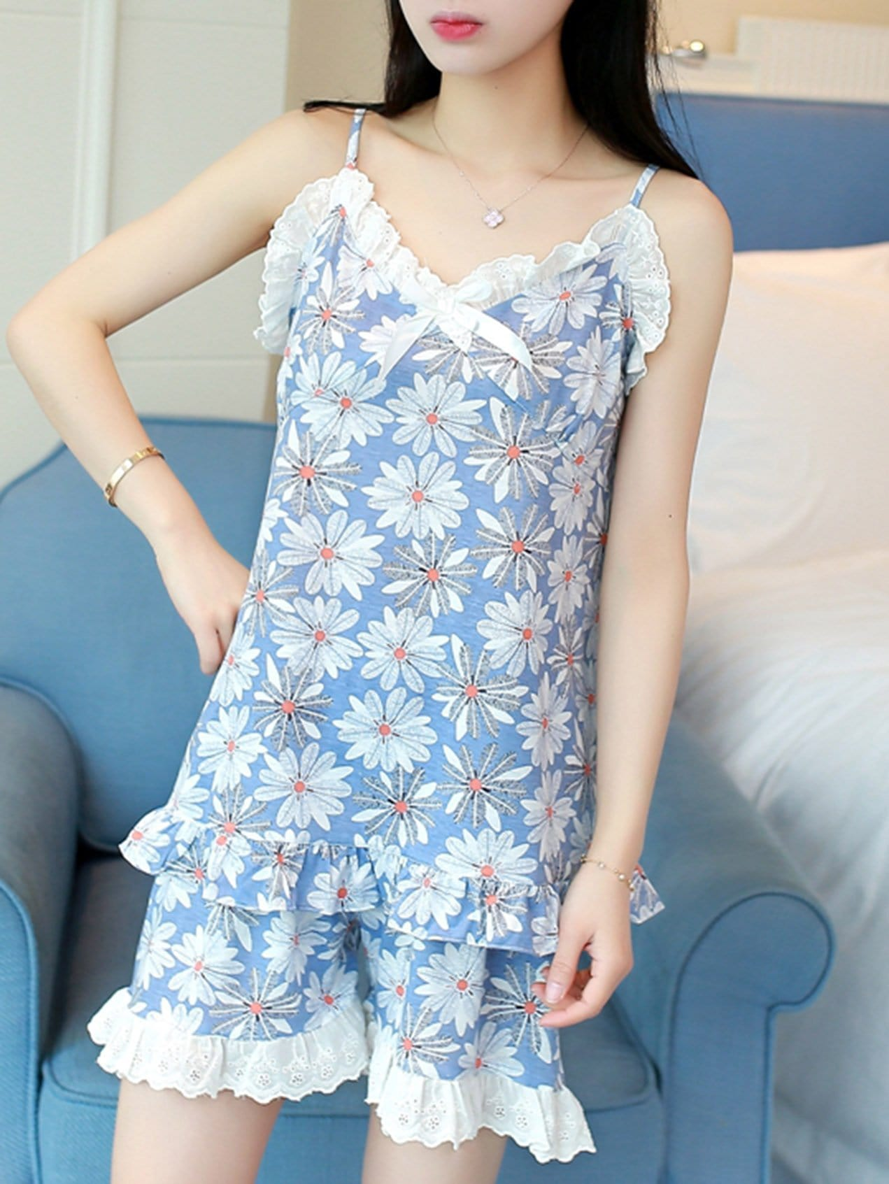 Фото - Floral Print Pajama Set With Eye Mask ruffle hem solid pajama set with eye mask