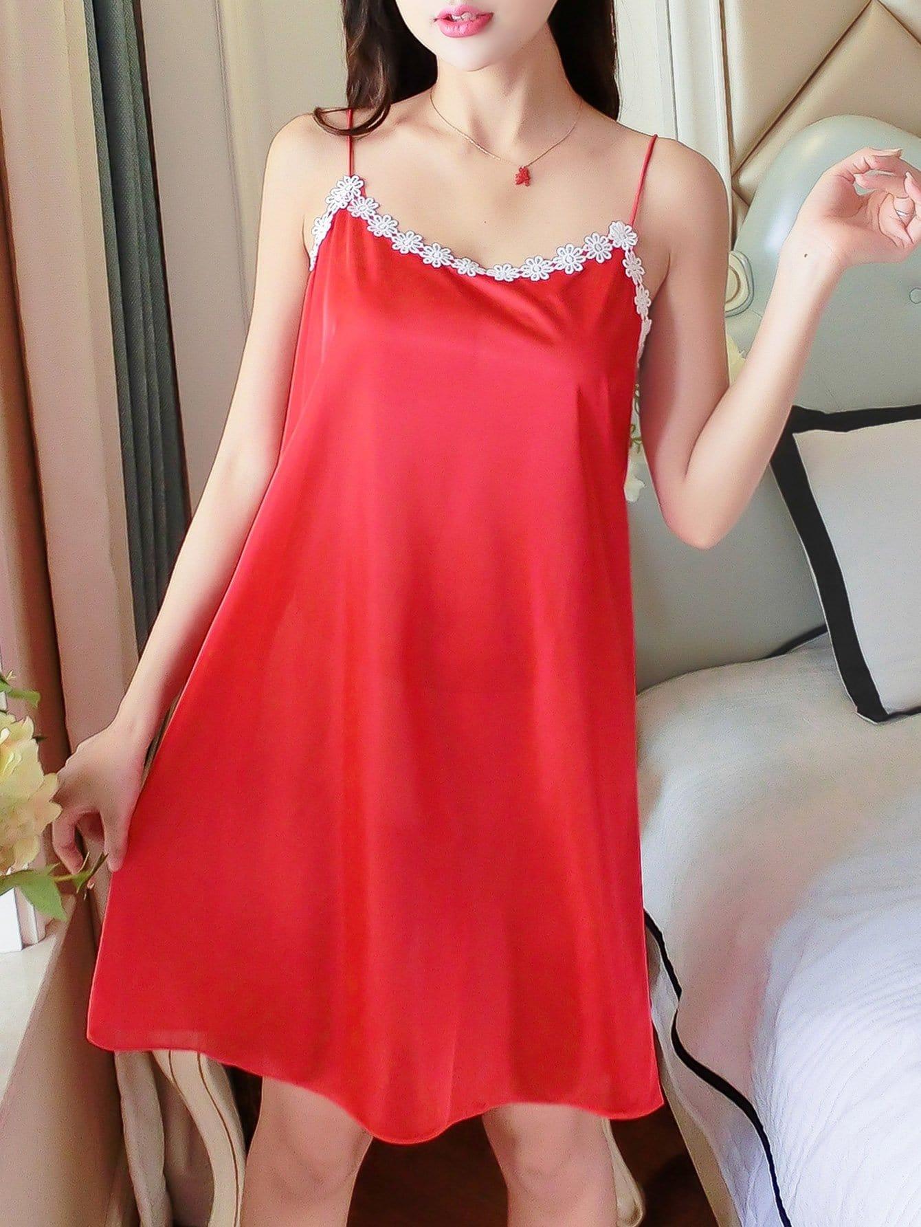 Crochet Lace Trim Cami Dress