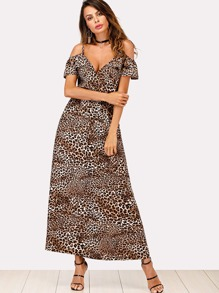 Leopard Pattern Open Shoulder Cami Dress