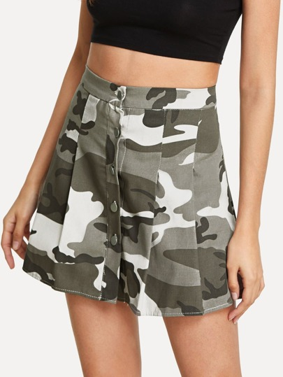 Single Breasted Camo Skirt