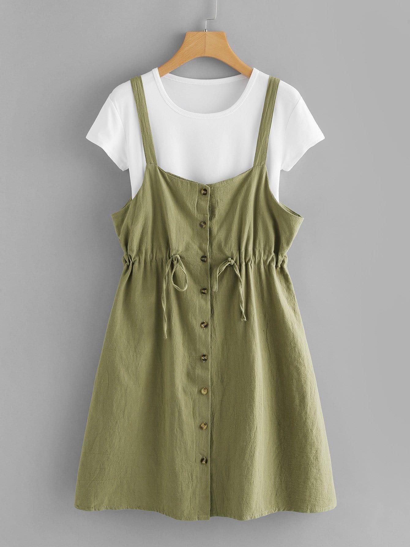 Drawstring Waist Button Front Strap Dress & Tee button front strap dress