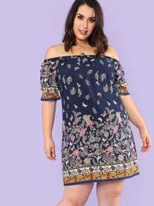 Botanical Print Bardot Dress
