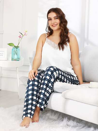 Lace Trim Satin Cami & Plaid Pants PJ Set