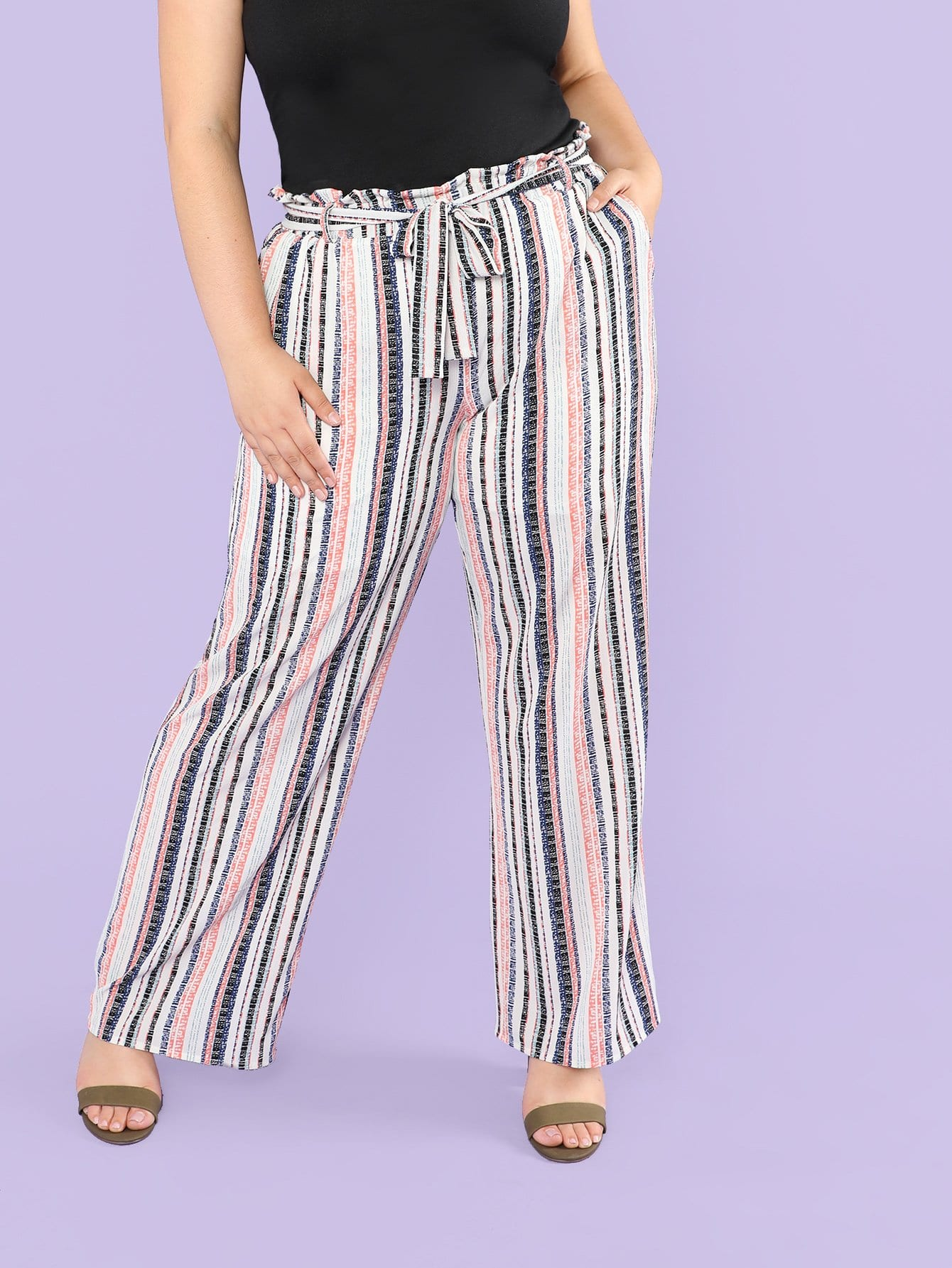 Frill Waist Belted Striped Wide Leg Pants tango tango mattathiah 2