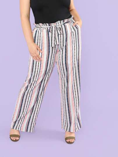 Frill Waist Belted Striped Wide Leg Pants