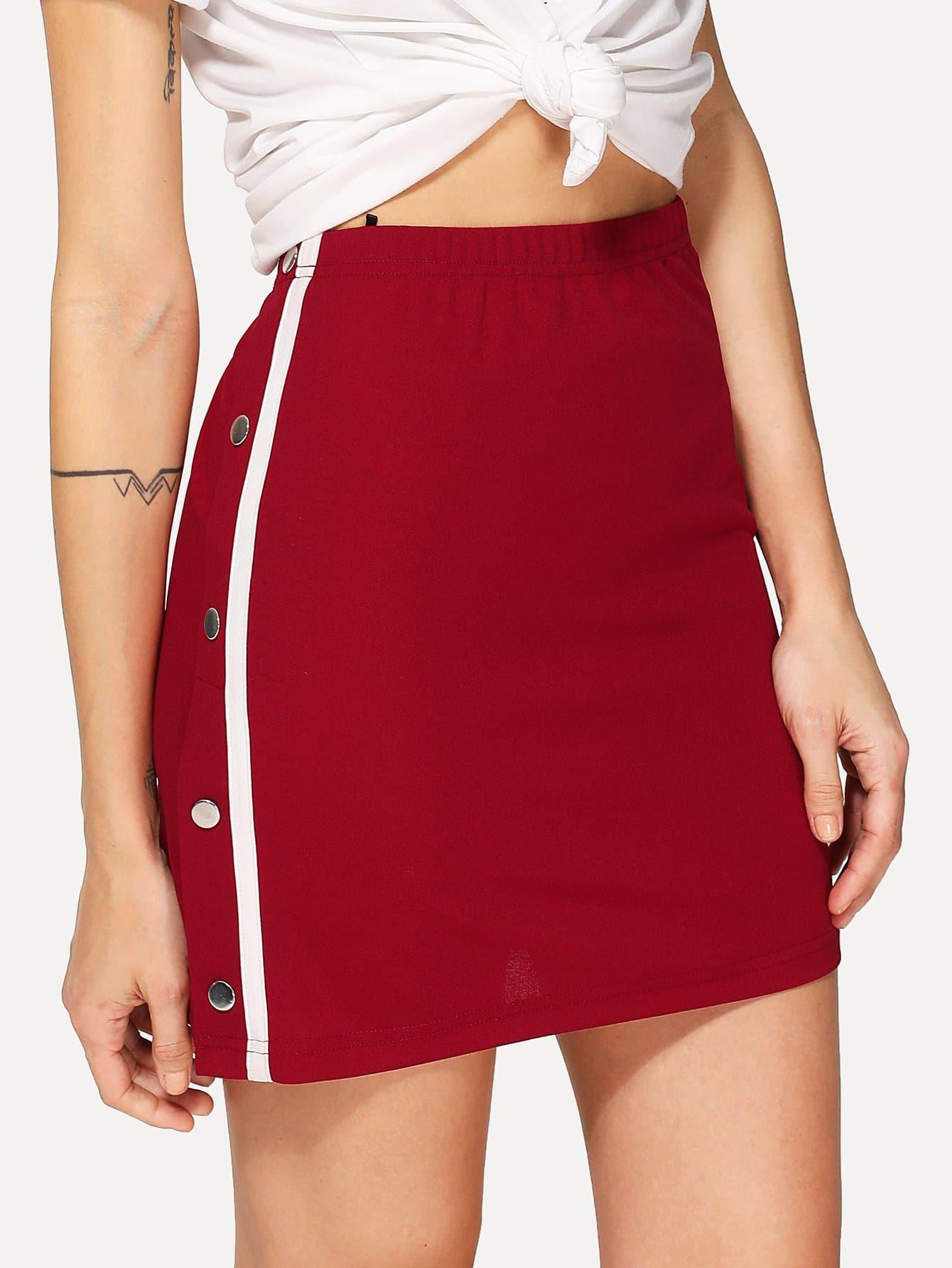 цены Buttoned & Striped Side Skirt