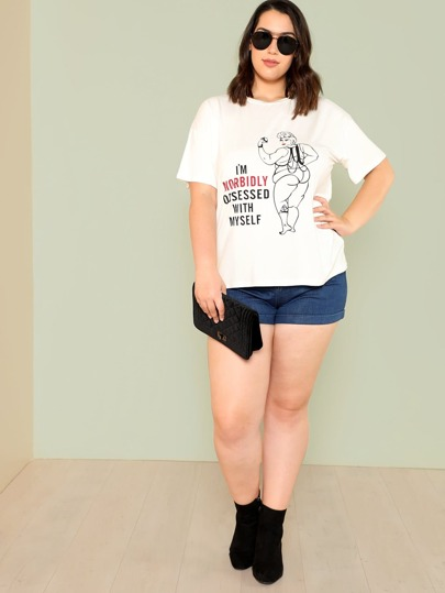 Letter & Cartoon Print Tee
