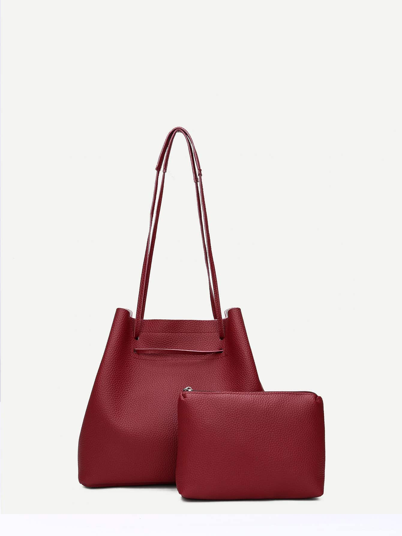 Фото Pebble Detail Tote Bag With Inner Clutch natassie women crystal clutches bags ladies evening bag female red purple party clutch wedding purse