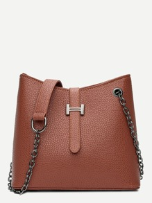Pebble Detail Chain Shoulder Bag