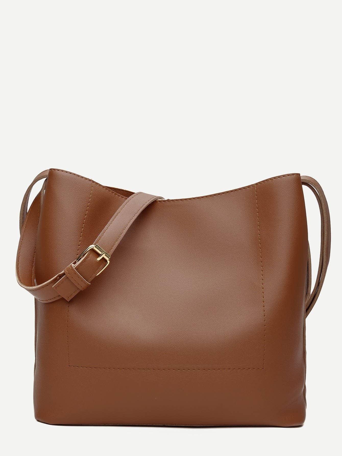 PU Shoulder Bag With Adjustable Strap pu adjustable strap hat shaped girls mini bag