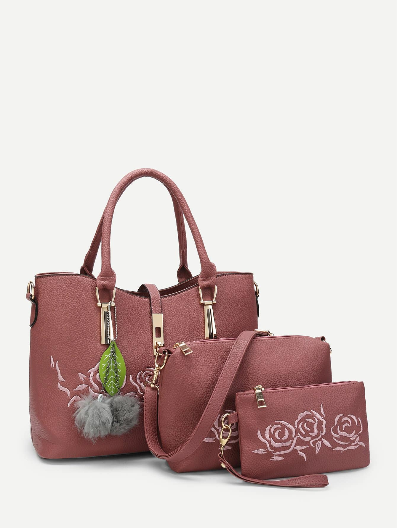 Floral Embroidered Combination Bag 3Pcs