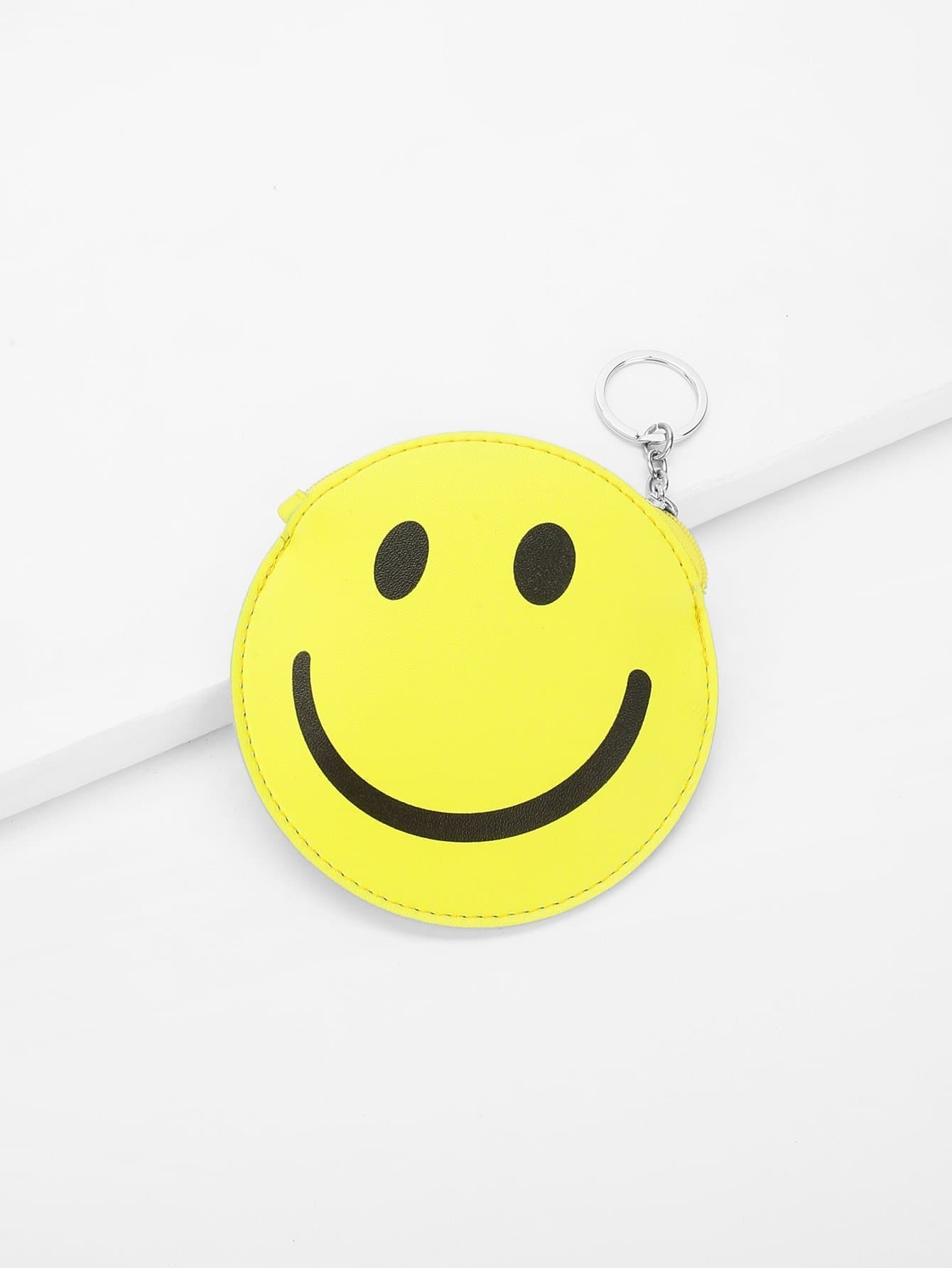 Round Smiley Face Coin Purse 2017 cute girls coin purses small coin bag key ring kawaii bag kids mini wallet card holders leather cartoon coin purse	1bw73