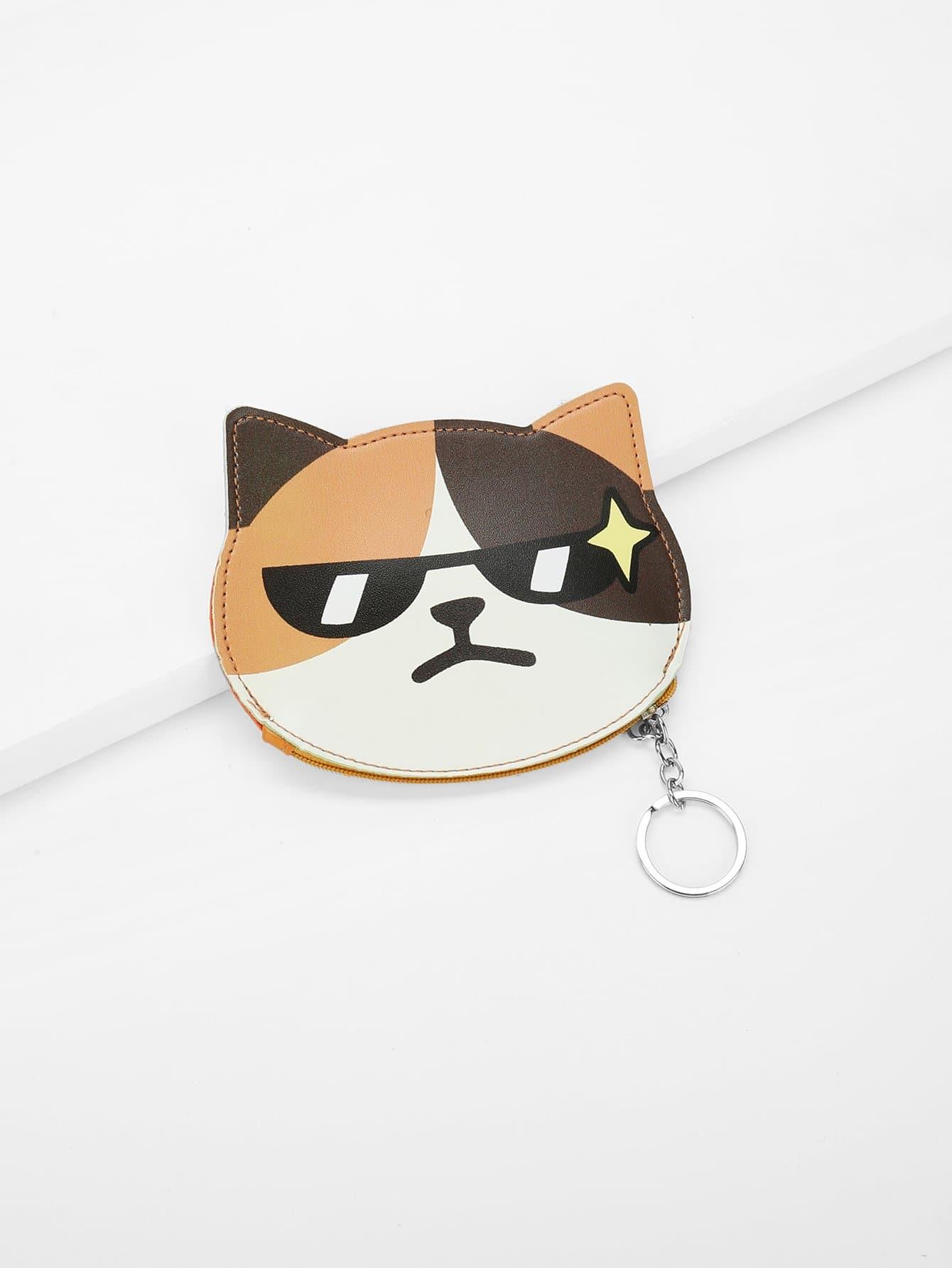 Cat Face Coin Purse 3d girl wallet bag ladies face zipper mini cat coin purses dog children purse plush bolsa de moeda coins pouch monedero gato