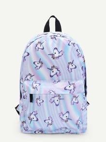 Unicorn Print Pocket Front Backpack