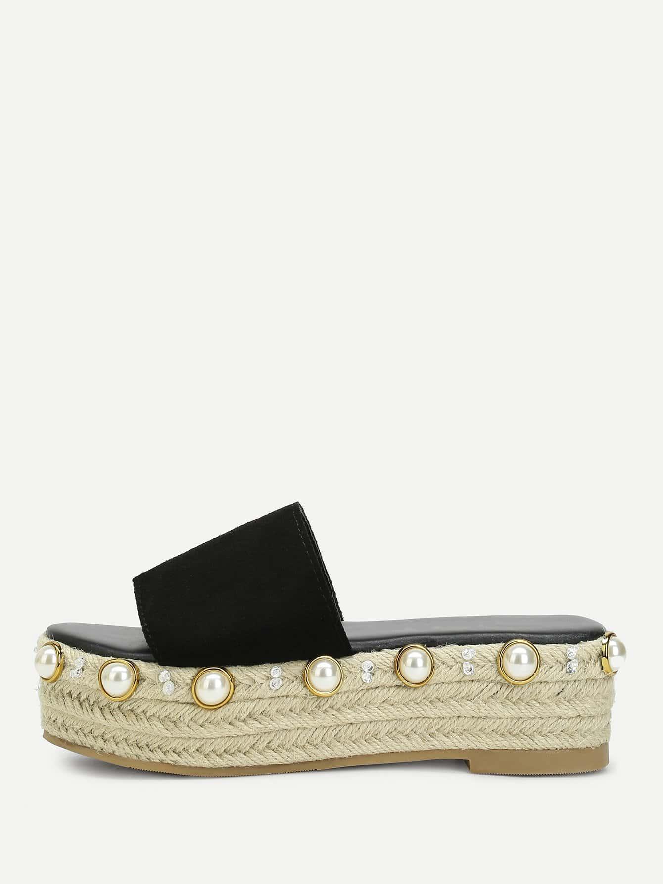 Купить Туфли на танкетке с жемчужинами, null, SheIn