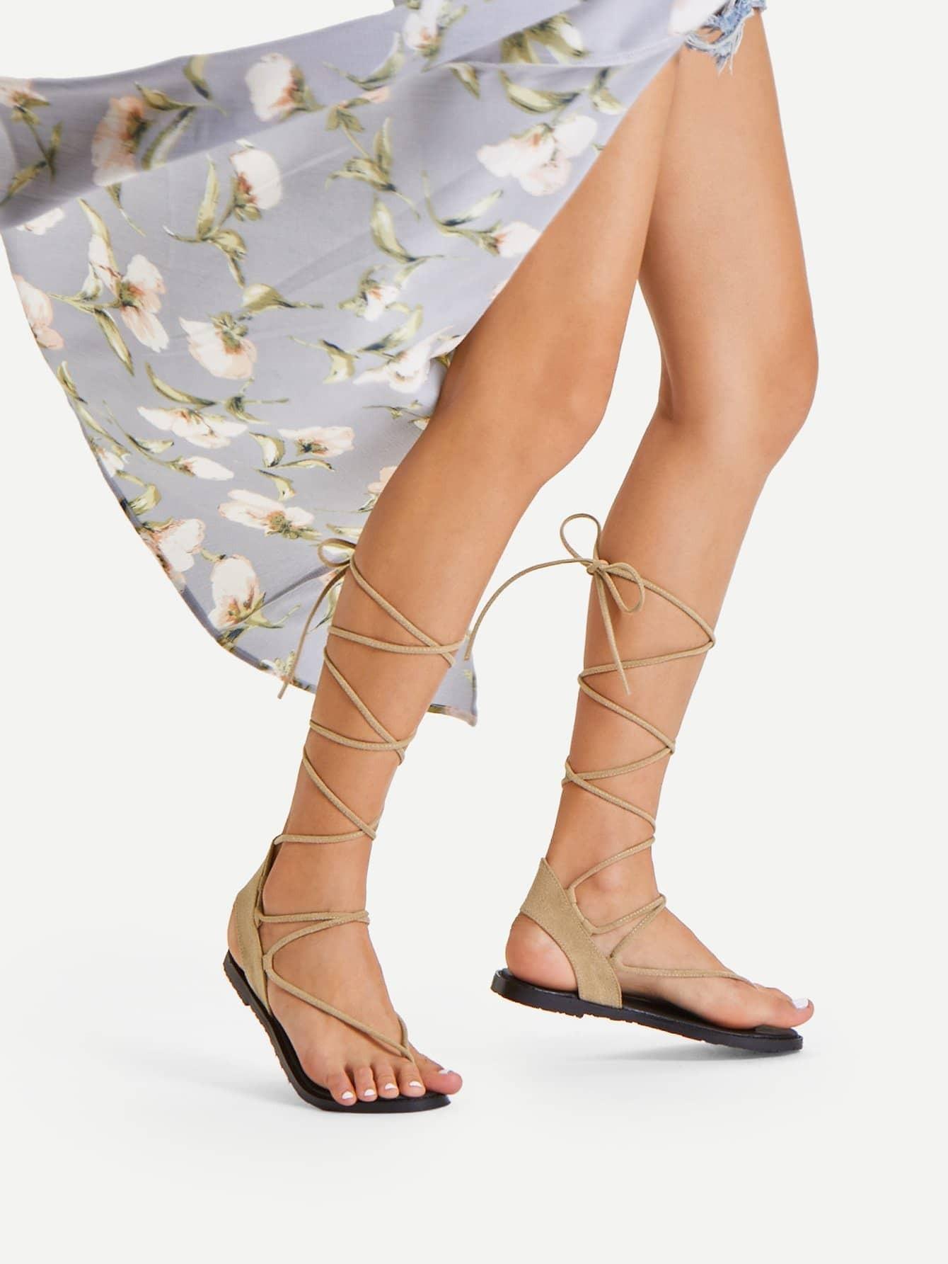 Strappy Gladiator Toe Post Sandals rockstud toe post strappy pu sandals