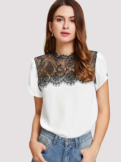 Contrast Lace Petal Sleeve Top
