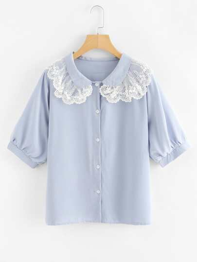 Contrast Embroidered Mesh Trim Shirt