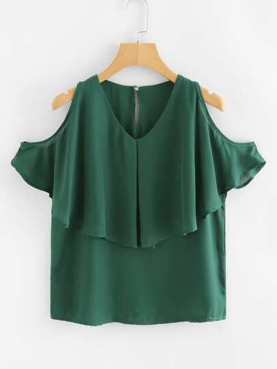 Ruffle Layered Open Shoulder Blouse