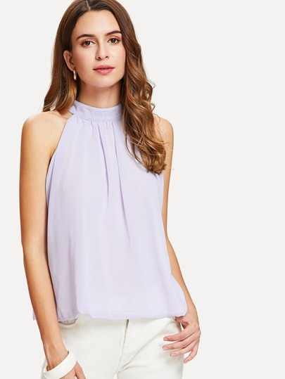 Overlap Back Tie Detail Blouse