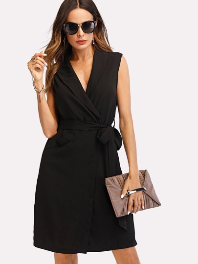 Shawl Collar Belted Wrap Dress