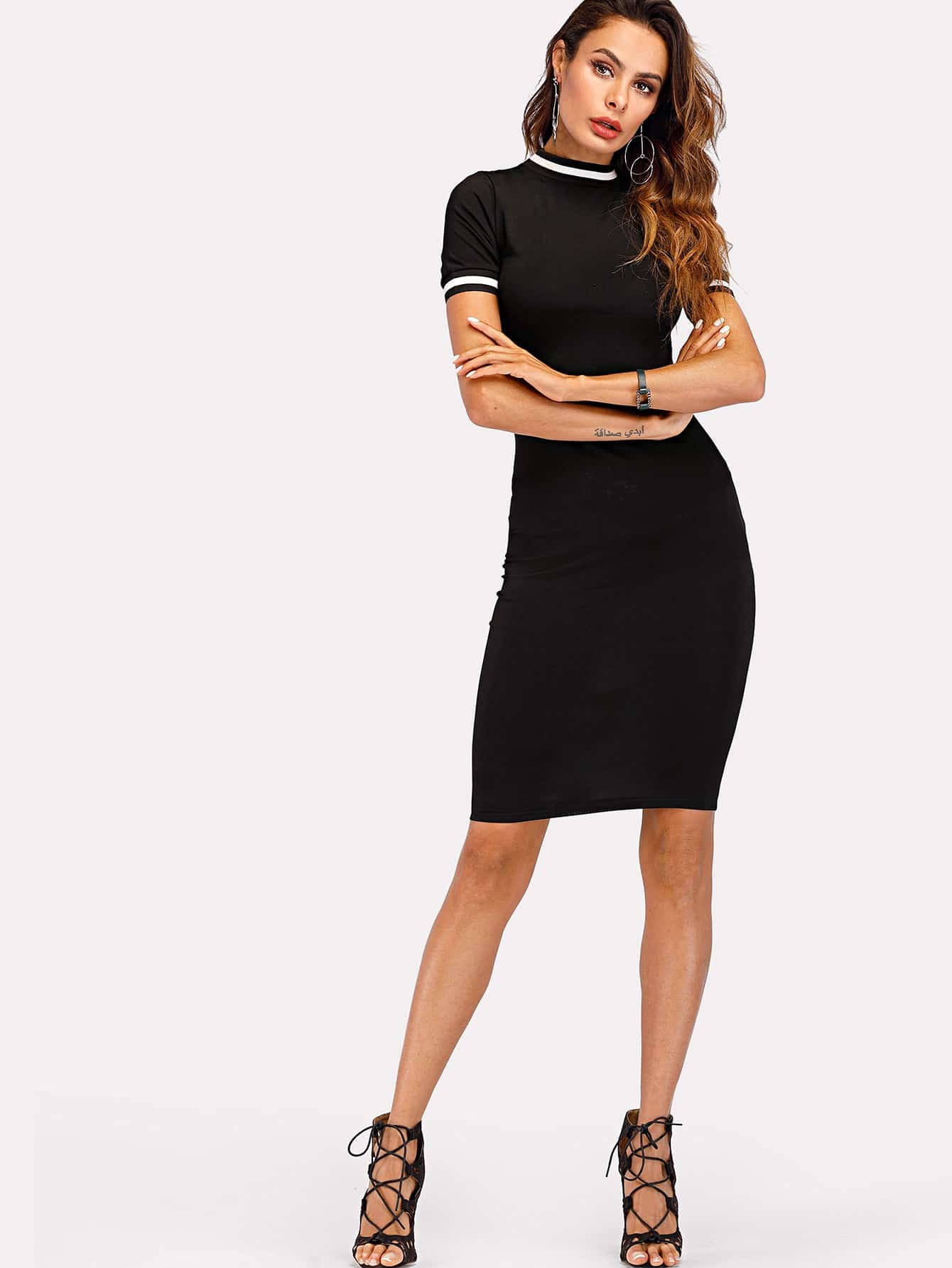 Фото Contrast Stripe Trim Knit Bodycon Dress men contrast stripe trim tee