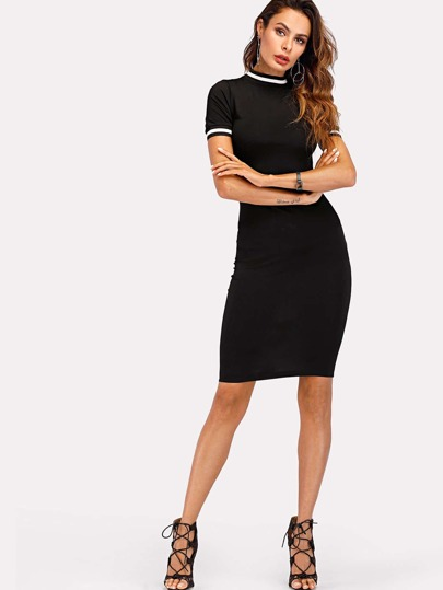 Contrast Stripe Trim Knit Bodycon Dress