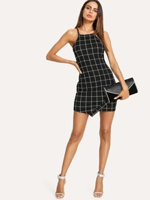 Grid Print Buttoned Keyhole Cami Dress