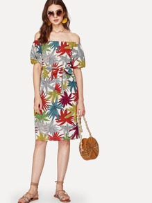 Bardot Leaves Print Self Tie Dress