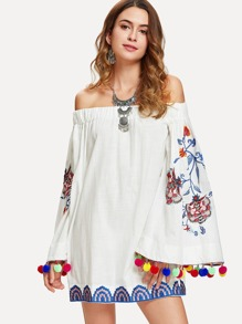 Pom Pom Embroidery Bardot Dress