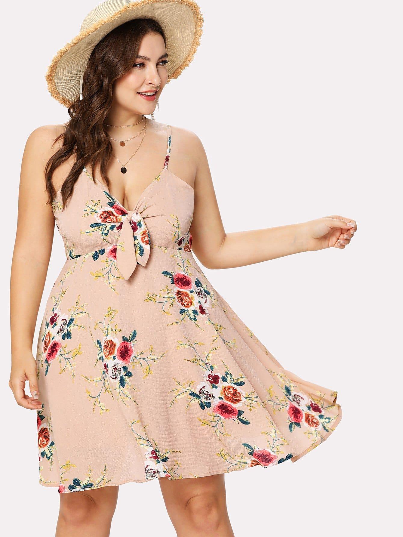 Plus Self Tie Floral Print Cami Dress self tie floral