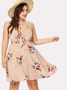 Self Tie Floral Print Cami Dress