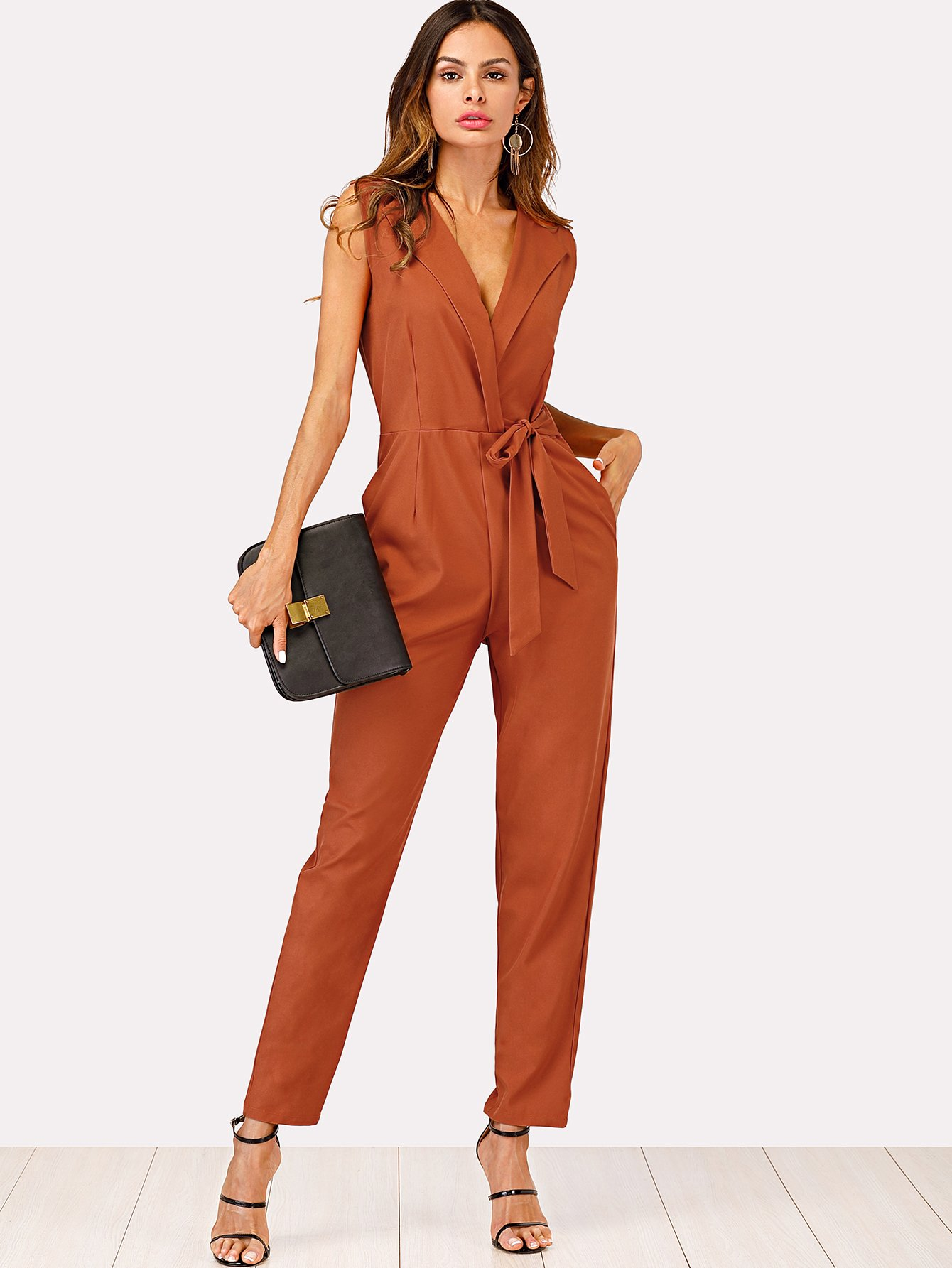 Zip Back Shawl Collar Knot Jumpsuits zip up back knot plaid top