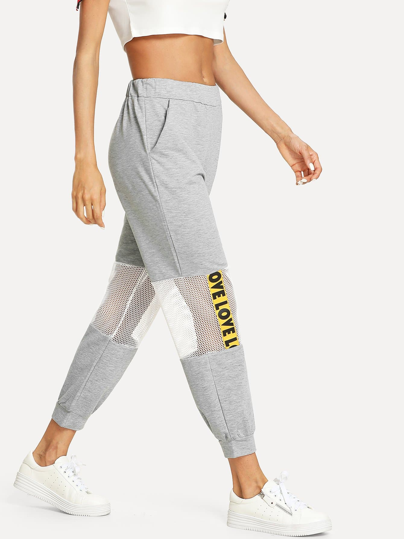 Contrast Fishnet Letter Tape Sweatpants genuine brand new qy6 0070 printhead print head for canon mp510 mp520 mx700 ip3300 ip3500 printer